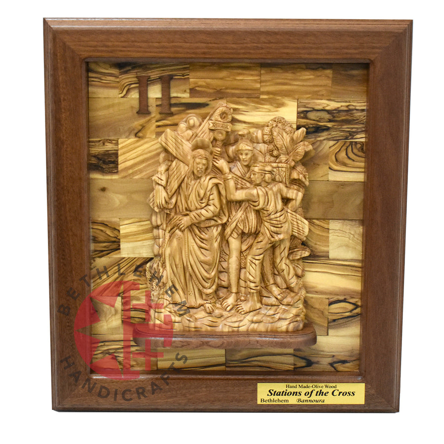 The 14 Stations of The Cross' Olive Wood Carving Set