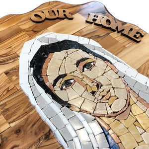 Virgin Mary Stone Mosaic on Olive Wood Plaque - Statuettes - Bethlehem Handicrafts