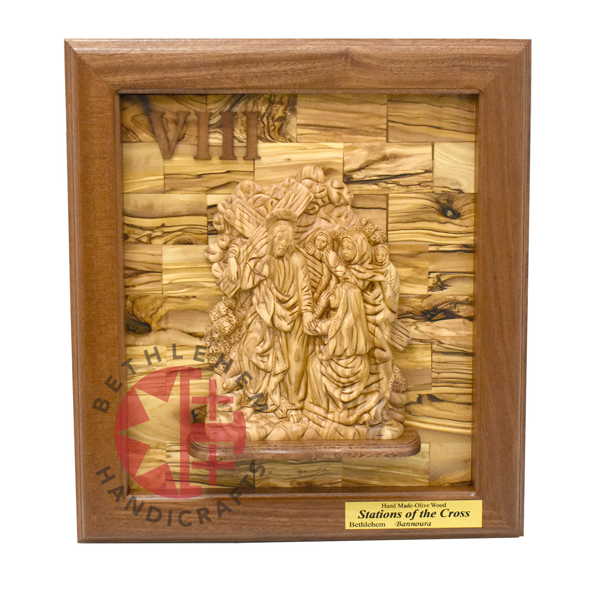 Fourteen Station of the Cross Wall Plaque Bethlehem Olive wood