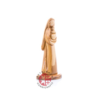 Olive Wood Carved Virgin Mary with the Holy Child (Abstract)