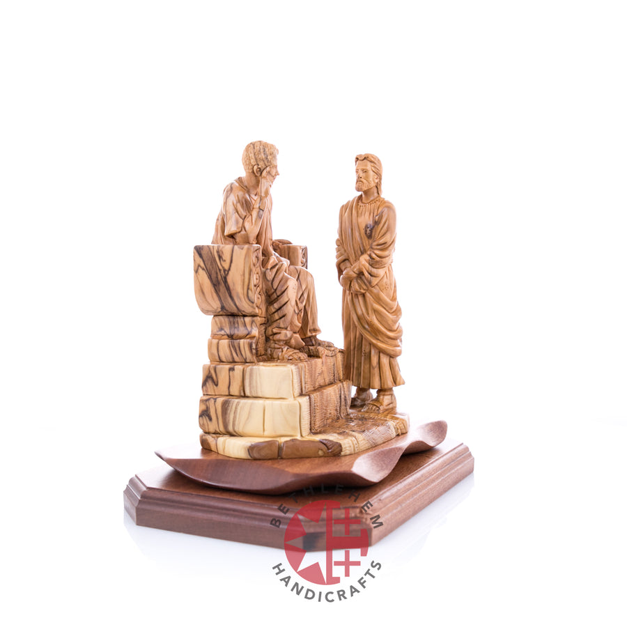 Olive Wood Jesus before Pilates Statue