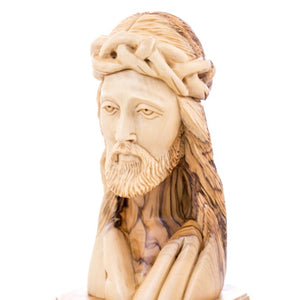 Hand Carved Wooden Bust of Jesus' Head