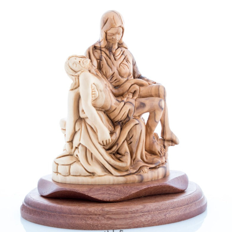 Hand Carved Olive Wood Pieta Sculpture - Statuettes - Bethlehem Handicrafts