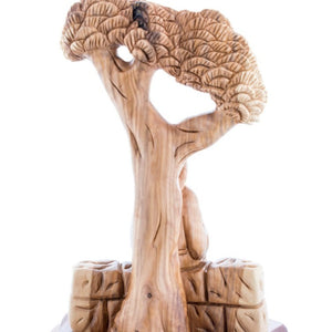Hand Carved Wooden Figurine of Saint Charbel with Cedar Tree - Statuettes - Bethlehem Handicrafts