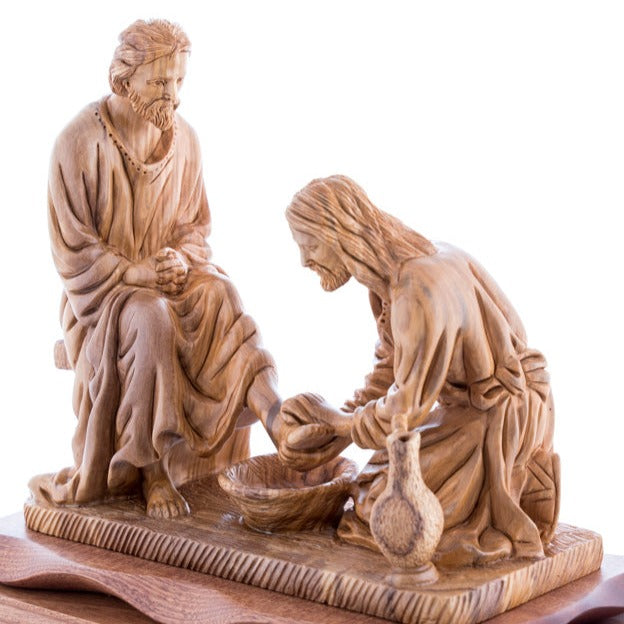 Carved Wooden Jesus Washing the Feet's Statue - Statuettes - Bethlehem Handicrafts
