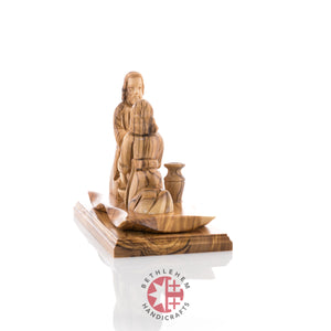 Modern Olive Wood Statue of Jesus Washing the Feet