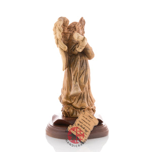 Wood Carved Praying Angel With Cithara