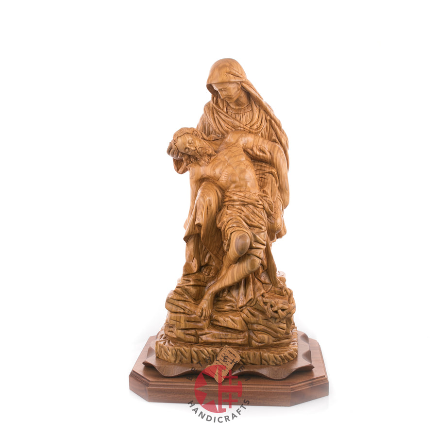 Hand Carved Olive Wood Large Contemplative Pieta Statue