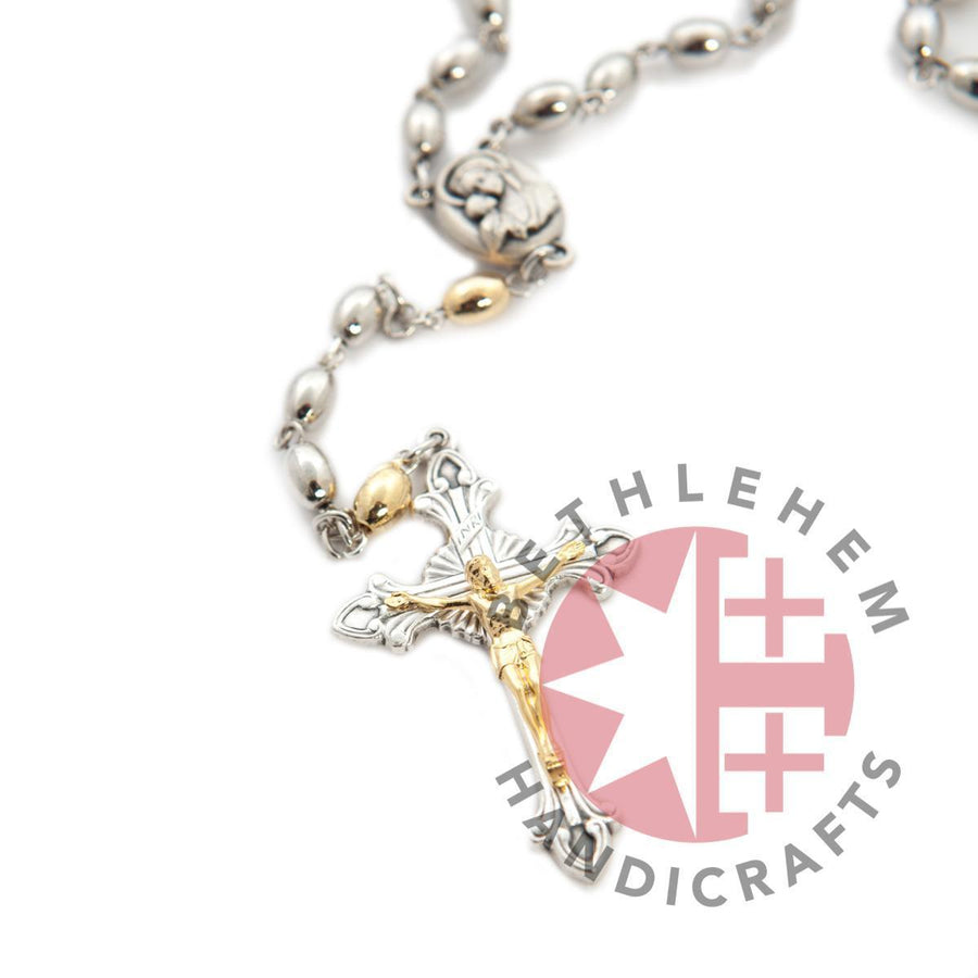 Gold and Silver (Light Gray) Plated Rosary with Holy Land Soil