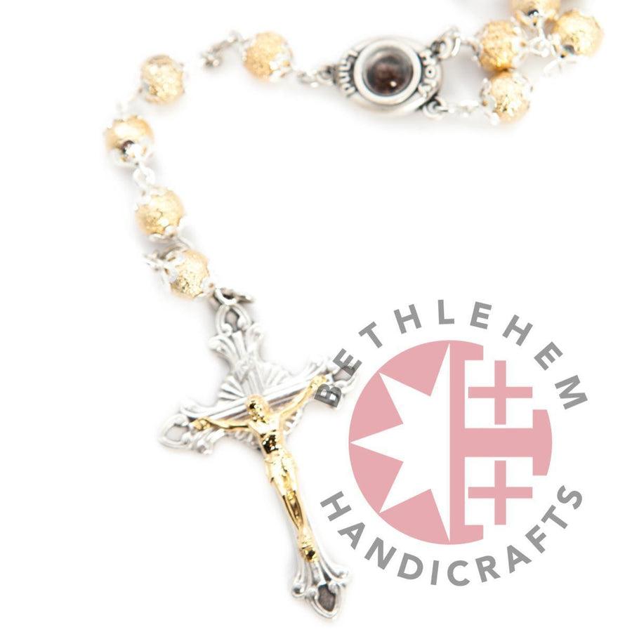 Rosary with Holy Land Soil Plated Gold - Jewelry - Bethlehem Handicrafts