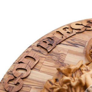 Olive Wood Holy Family Wall Hanging Plaque with Holy Incense - Wall Hangings - Bethlehem Handicrafts