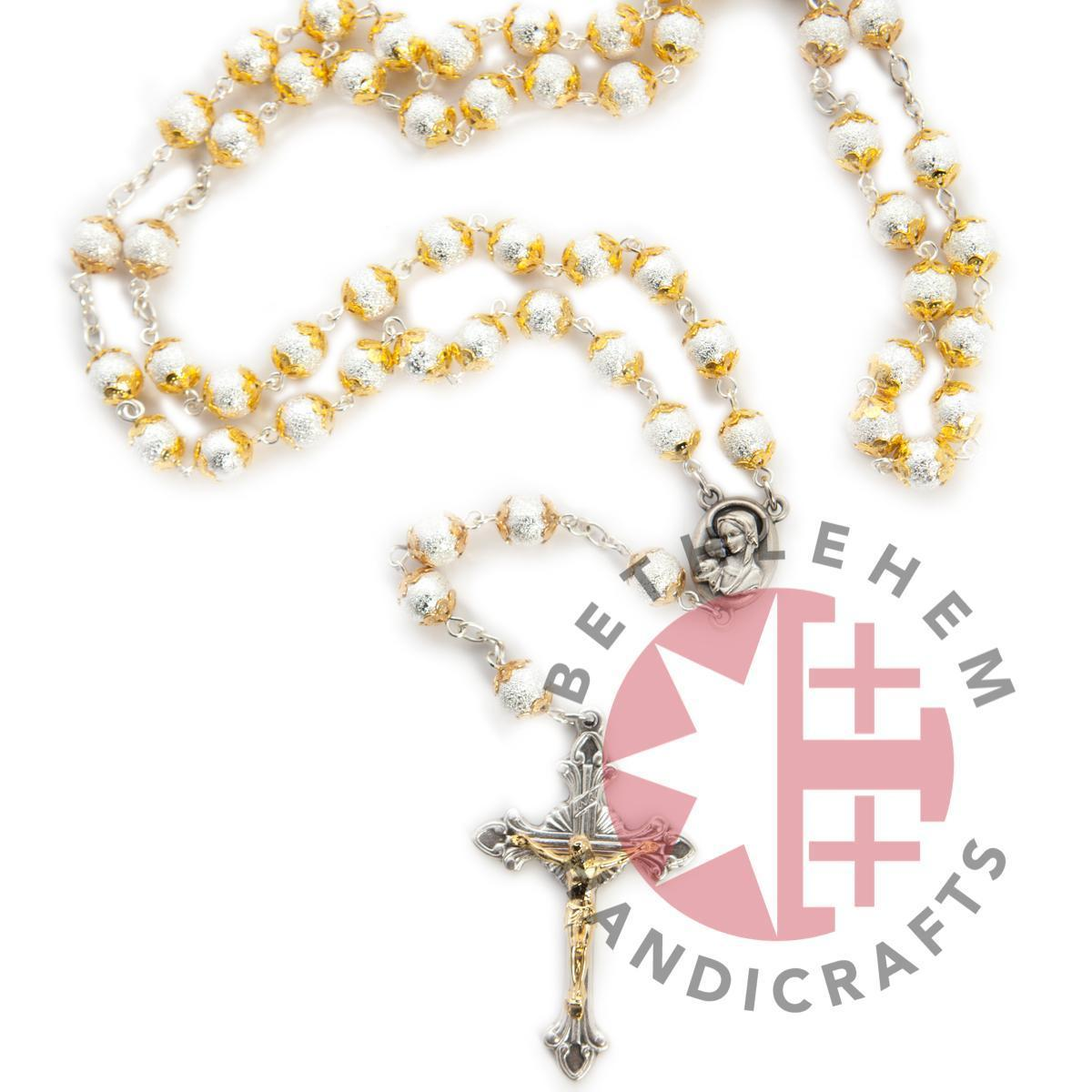 Silver and Gold Plated Rosary with Holy Land Soil - Jewelry - Bethlehem Handicrafts