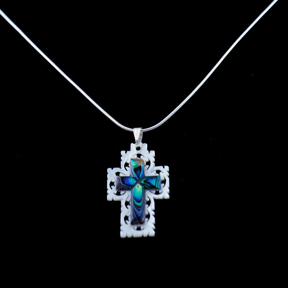 Sterling Silver Necklace with Colorful Mother of Pearl Cross Pendant - Jewelry - Bethlehem Handicrafts