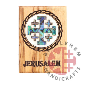 Mother of Pearl Jerusalem Cross on Olive Wood Magnet