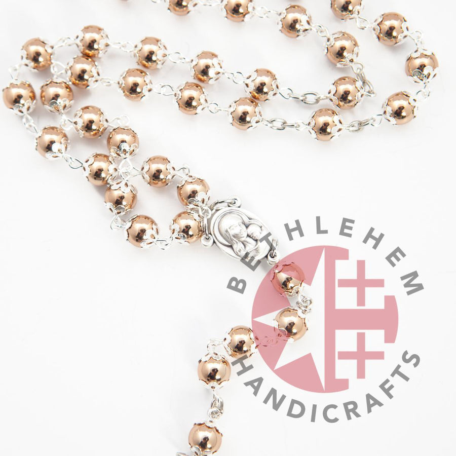 Silver and Bronze Plated Rosary with Holy Land Soil - Jewelry - Bethlehem Handicrafts