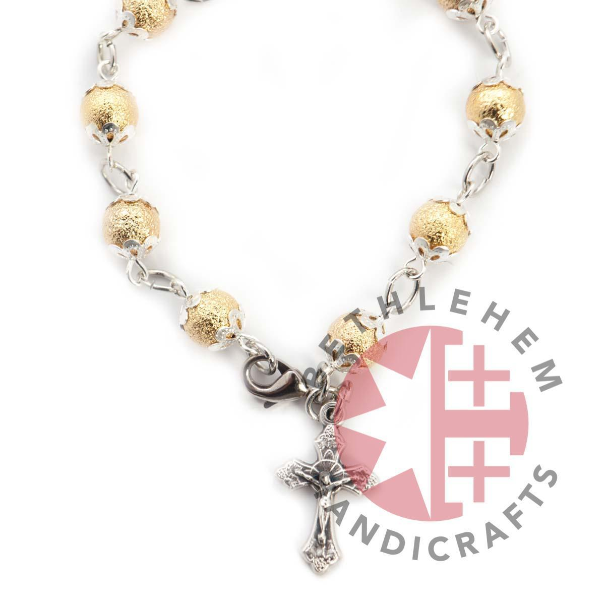 Gold Plated Beads Jesus on the Cross Rosary Bracelet - Olive Wood Jewelry