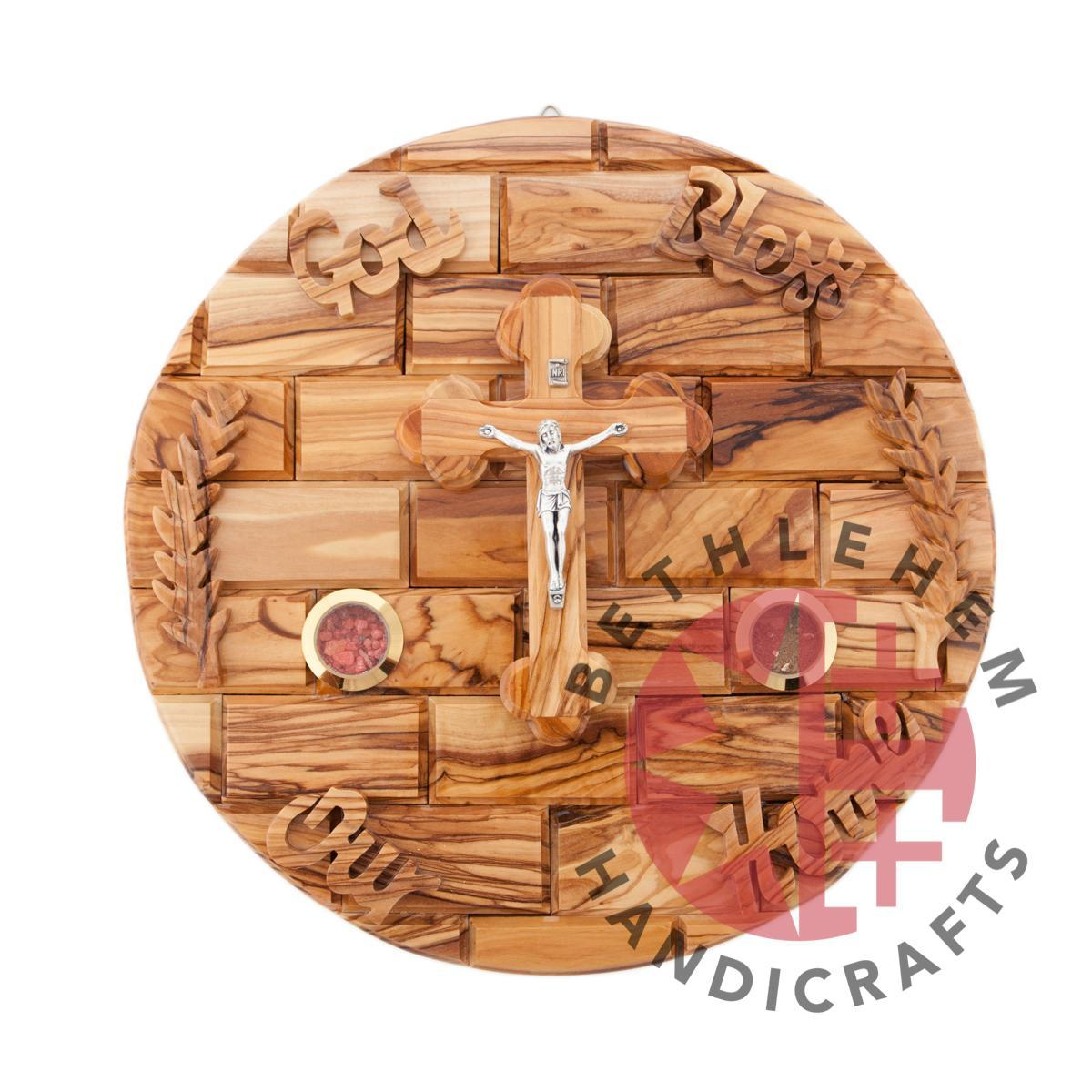 Olive Wood Crucifix Wall Hanging Plaque
