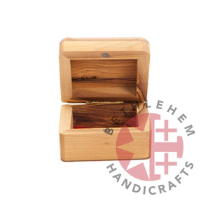 Square Rounded-Corners Jesus Christ Hand Carved Olive Wood Box (Jerusalem Cross) - Home & Office - Bethlehem Handicrafts