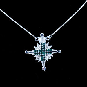 Two-Way Magnetic Jerusalem Cross Necklace (Green Gemstones) - Jewelry - Bethlehem Handicrafts
