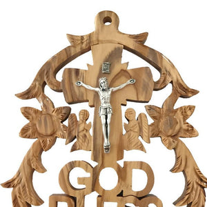 Olive Wood God Bless Wall Hanging Plaque - Wall Hangings - Bethlehem Handicrafts