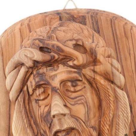 Hand Carved Wood Face of Jesus' Plaque - Statuettes - Bethlehem Handicrafts