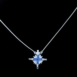 Two-Way Magnetic Star of Bethlehem Necklace (Blue Gemstones) - Jewelry - Bethlehem Handicrafts