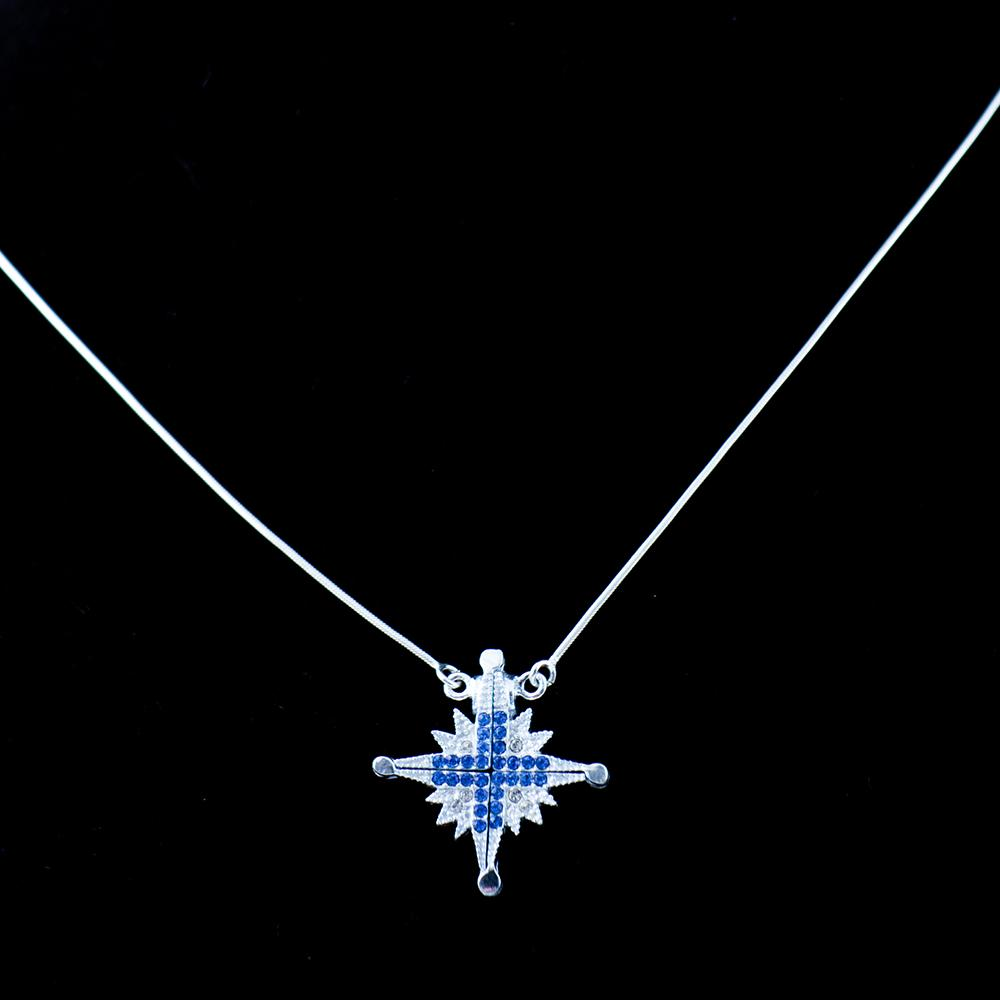 Two-Way Magnetic Jerusalem Cross Necklace (Blue Gemstones) - Jewelry - Bethlehem Handicrafts