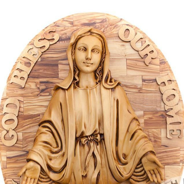 Olive Wood Virgin Mary Wall Hanging Plaque with Holy Land Incense - Wall Hangings - Bethlehem Handicrafts