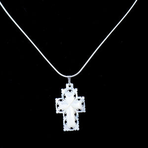 Sterling Silver Necklace with Mother of Pearl Cross Pendant - Jewelry - Bethlehem Handicrafts