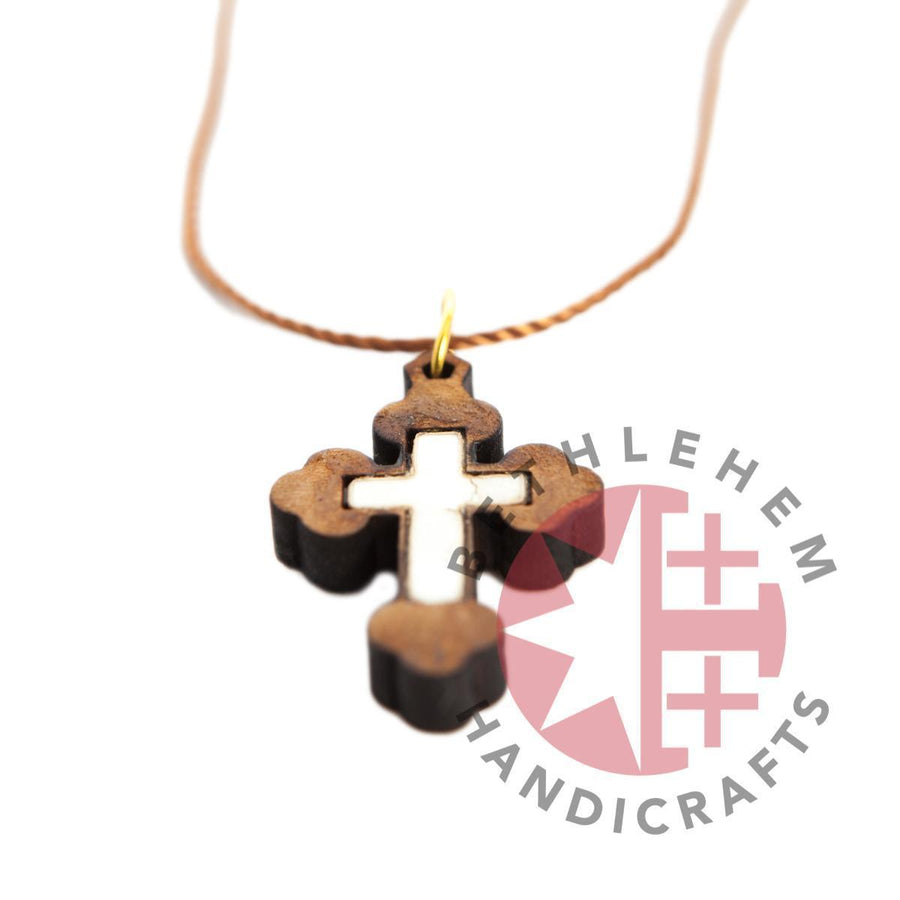 Olive Wood and White Mother of Pearl Budded Cross Necklace