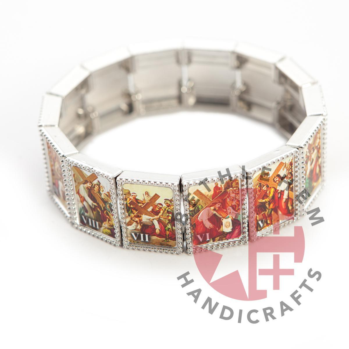 The Fourteen Stations of the cross Bracelet - Olive Wood Jewelry - Jewelry - Bethlehem Handicrafts