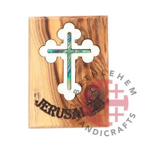 Olive Wood with Mother of Pearl Green Abalone  Cross Magnet - Wall Hangings - Bethlehem Handicrafts