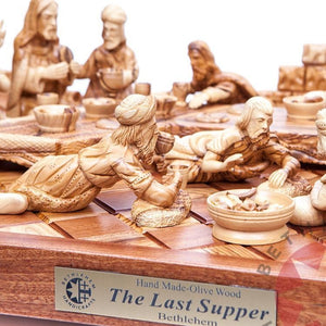 Olive Wood Hand Carved Last Supper (Masterpiece) - Statuettes - Bethlehem Handicrafts