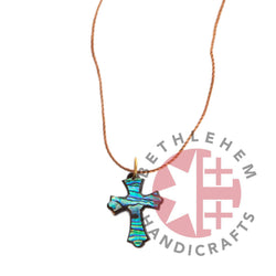Colorful Nacre Cross Necklace on Olive Wood Base