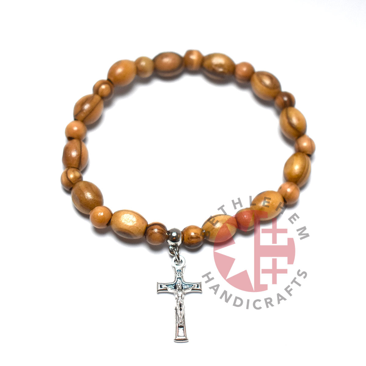 Oval Olive Wood 9*6 mm Beads Bracelet with Crucifix Pendant