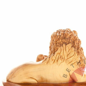Carved Wooden Lion with A Lamb - Statuettes - Bethlehem Handicrafts