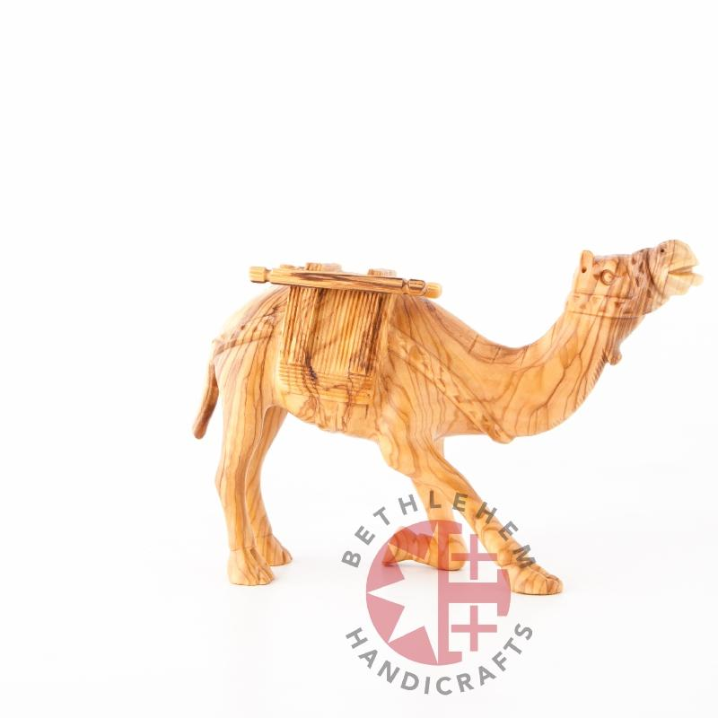 Carved Keeling Camel with Harness - Statuettes - Bethlehem Handicrafts