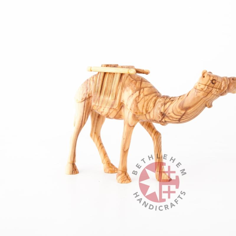 Wooden Carved Camel with Harness - Statuettes - Bethlehem Handicrafts