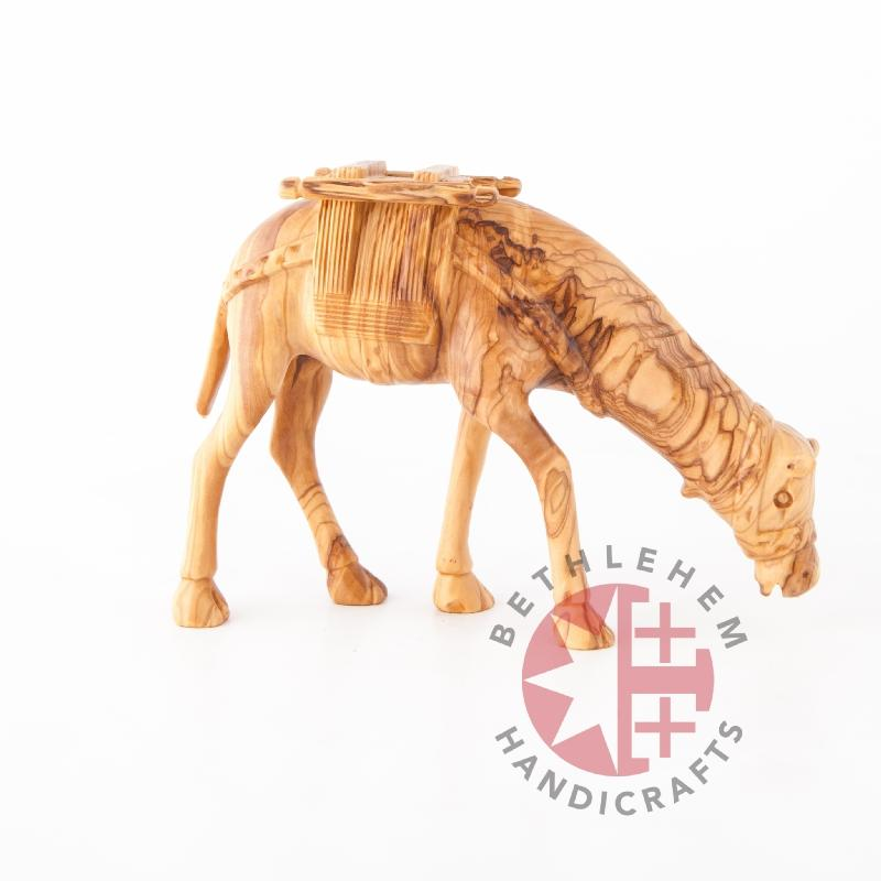 Hand Carved Wood Grazing Camel - Statuettes - Bethlehem Handicrafts