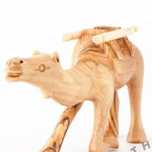 Olive Wood Carved Keeling Camel with Harness - Statuettes - Bethlehem Handicrafts