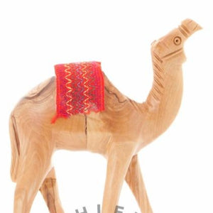 Wooden Carved Camel with Red Saddle - Statuettes - Bethlehem Handicrafts