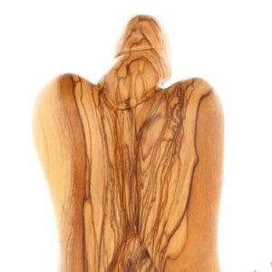 Wood Carved Angel with the Baby - Statuettes - Bethlehem Handicrafts