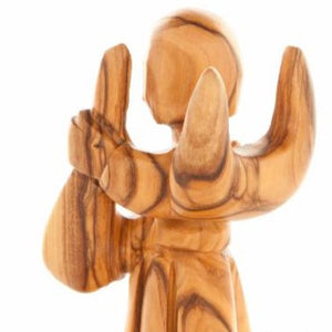 Hand Carved Wooden Angel With Cithara - Statuettes - Bethlehem Handicrafts