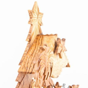 Olive Wood Nativity Set Christmas Tree Large - Statuettes - Bethlehem Handicrafts