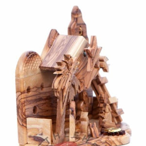 Hand Carved Olive Wood Nativity Set with Music Box - Statuettes - Bethlehem Handicrafts