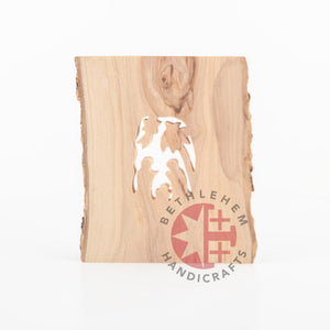 Olive Wood Bark Nativity Scene Ornament - Specialty - Bethlehem Handicrafts
