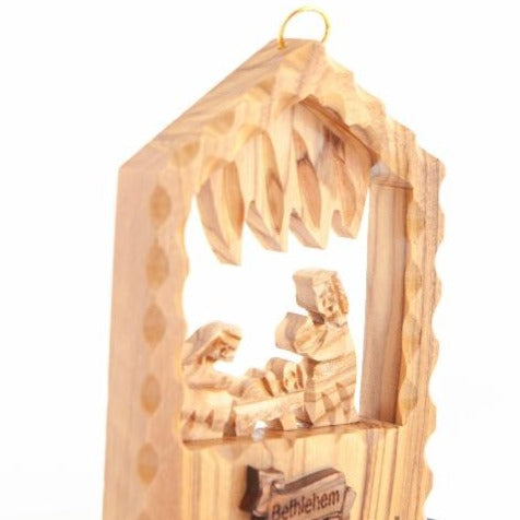 Hand Carved Olive Wood Nativity Scene Ornament - Specialty - Bethlehem Handicrafts