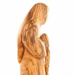 Praying Virgin Mary Holding a Rosary (Olive Wood Statue)