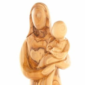 Olive Wood Virgin Mary with the Child Jesus Presented (Abstract) - Statuettes - Bethlehem Handicrafts