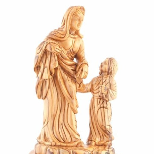 Olive Wood Virgin Mary with Her Son Statue - Statuettes - Bethlehem Handicrafts